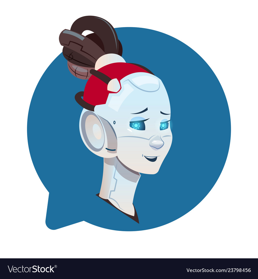 Chatbot cute female robot in chat bubble icon