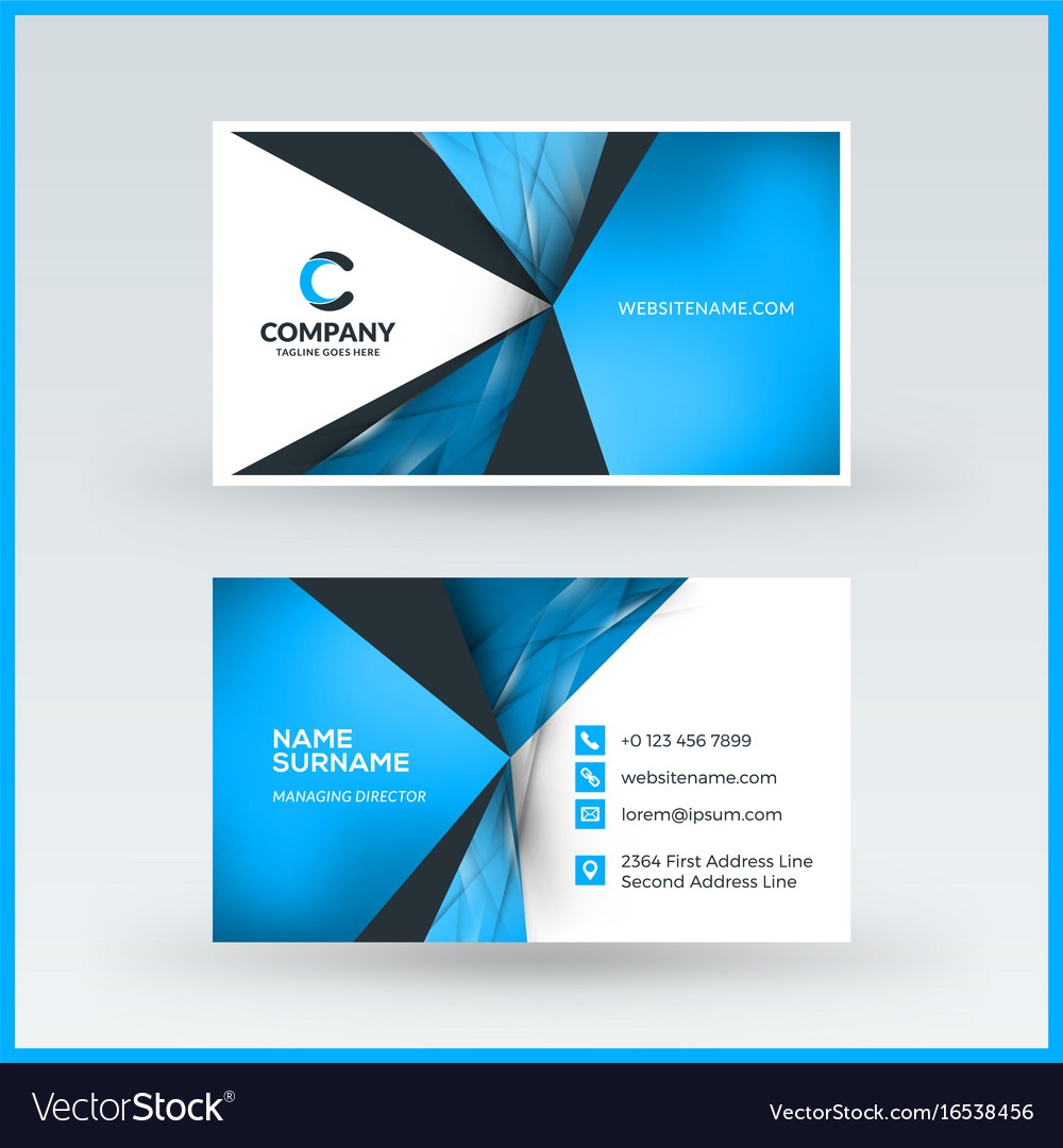 Doublesided Horizontal Business Card Template Vector Image - Horizontal business card template