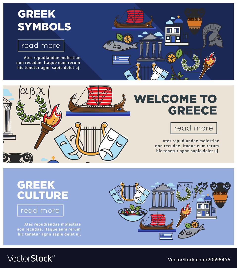 Greece travel web banners of greek sightseeings vector image