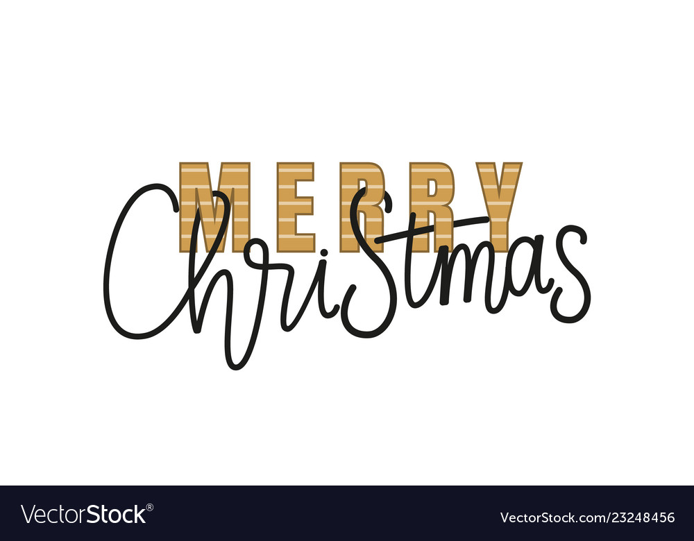 Merry christmas calligraphy doodle isolated
