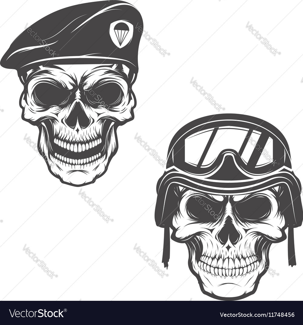military skulls skull in paratrooper beret skull vector image vectorstock