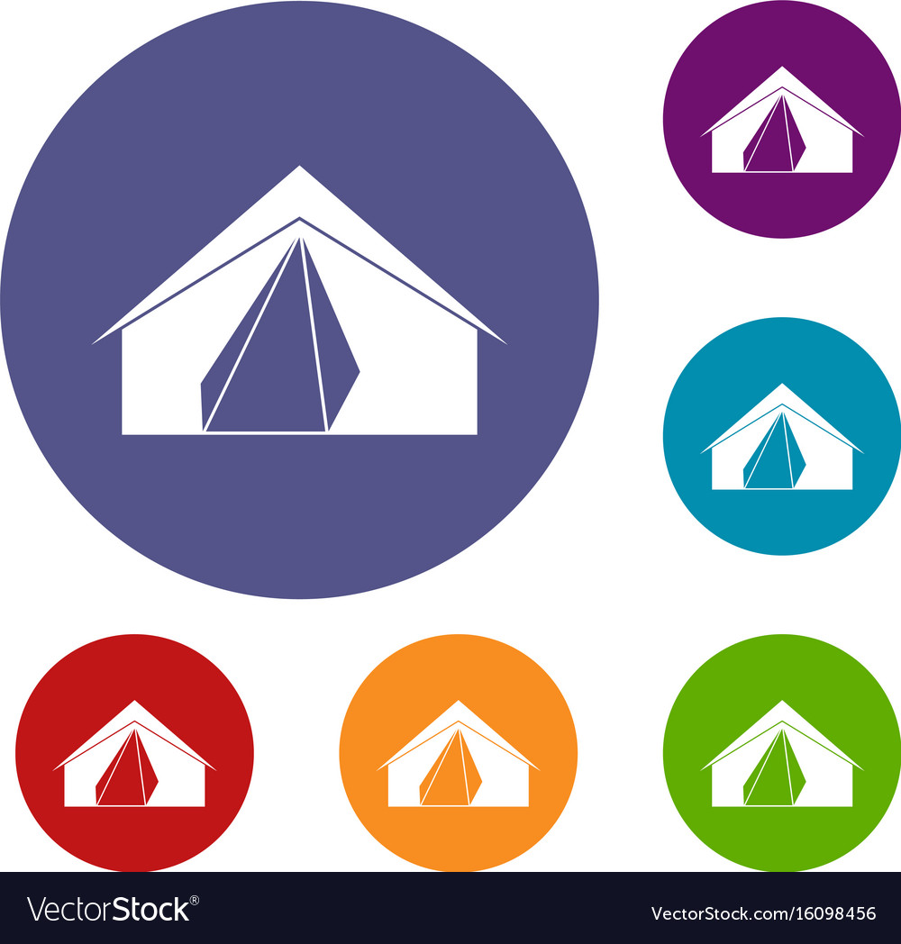 Open tent icons set vector image