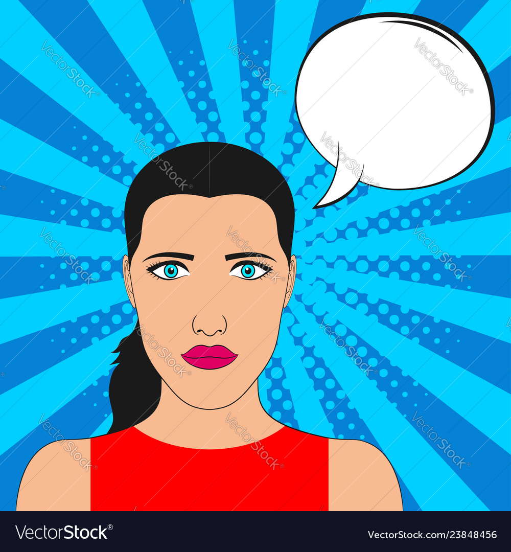 Pop art girl portrait with blank speech bubble