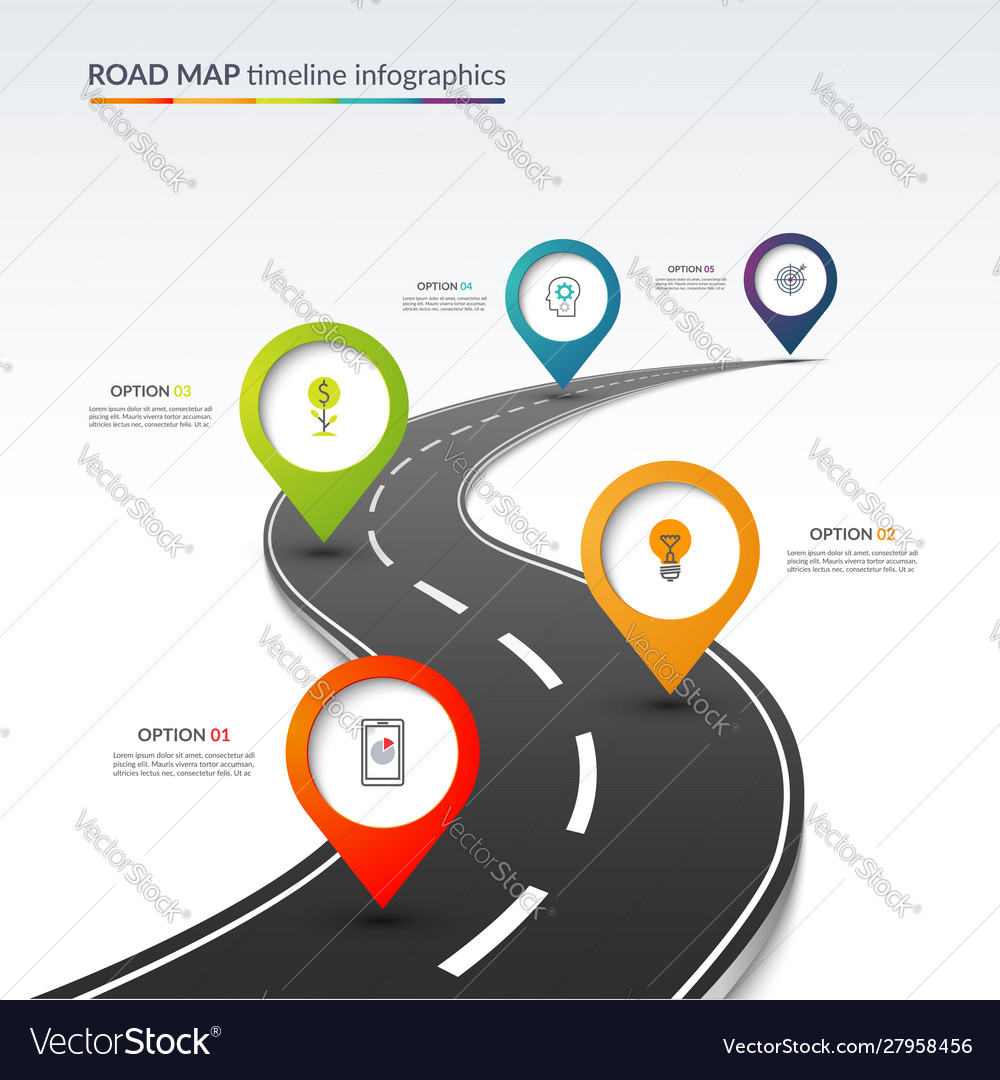 Road map timeline infographic template