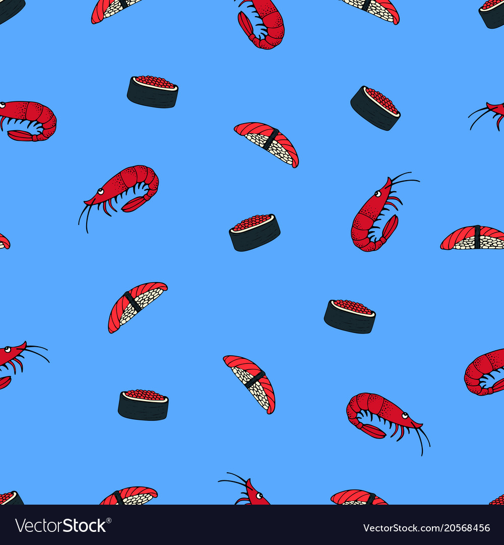 Seamless pattern with japanese cuisine