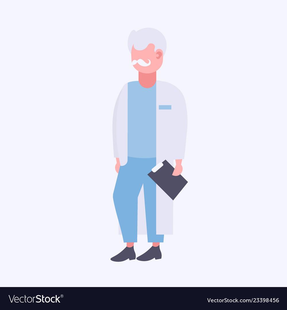 Senior doctor holding clipboard male medical