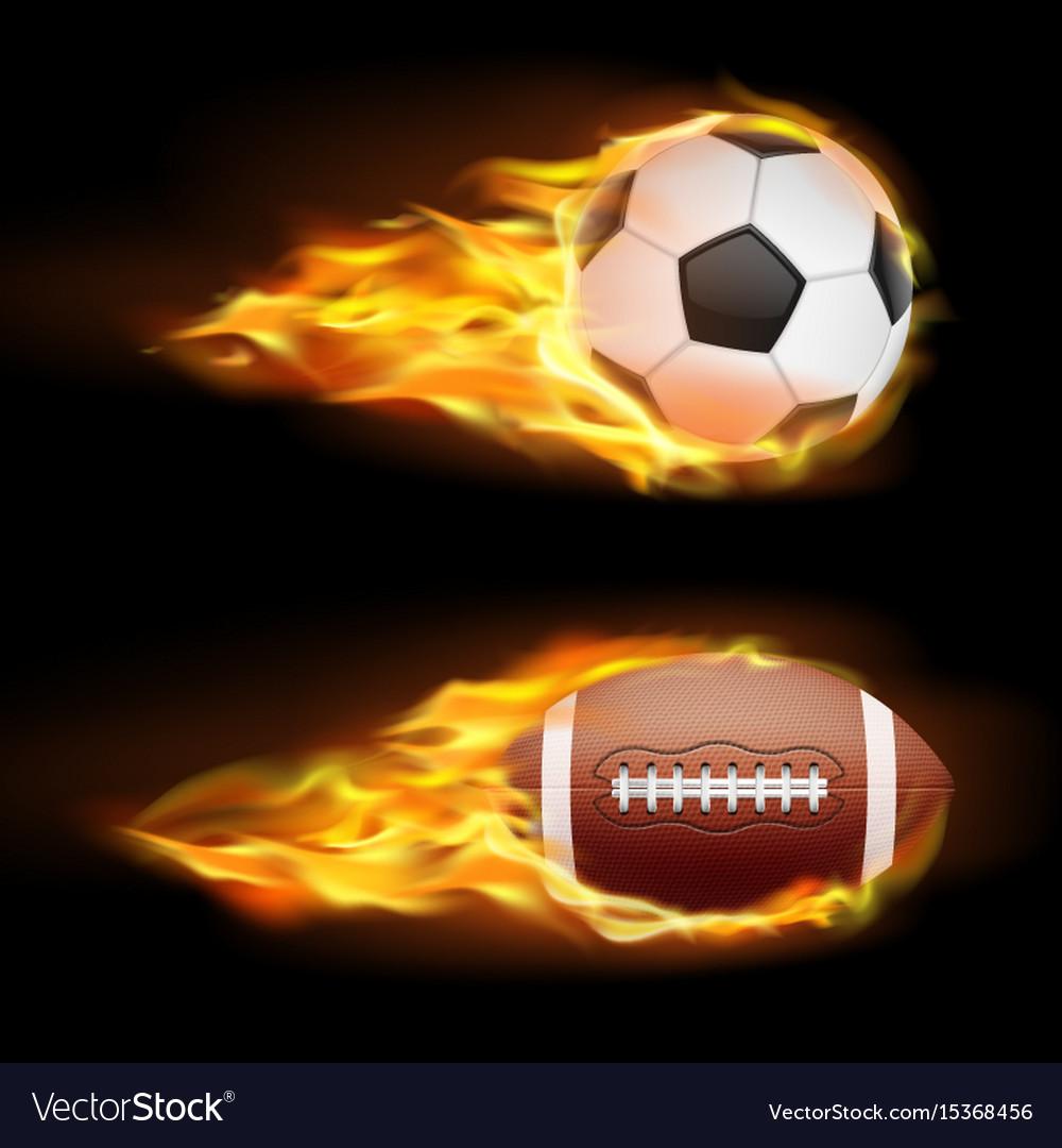 Set of sports burning balls balls for