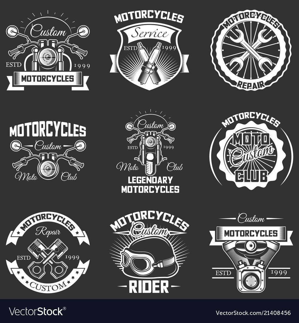 Set vintage motorcycle service labels