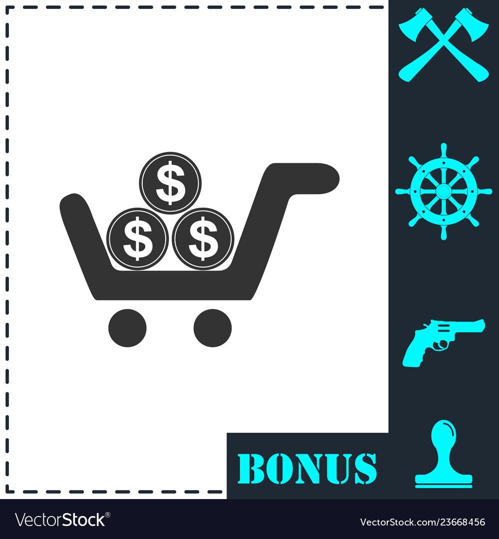 Shopping cart icon flat