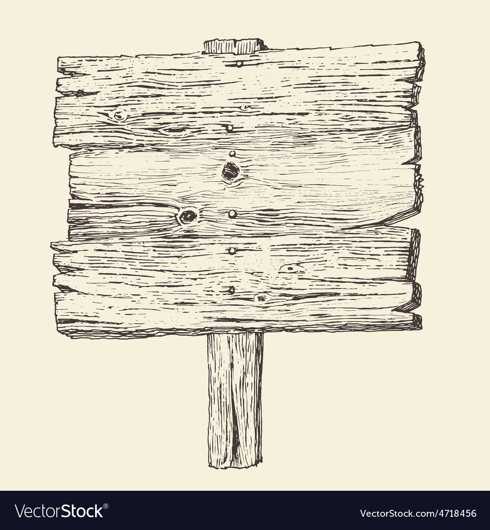 Wood signboard wooden sign vintage vector image