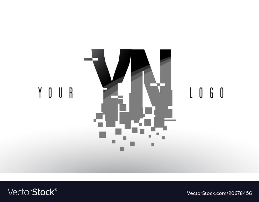 Yn y n pixel letter logo with digital shattered vector image