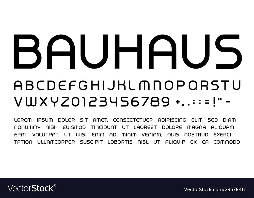 Bauhaus letters and numbers set rounded headline