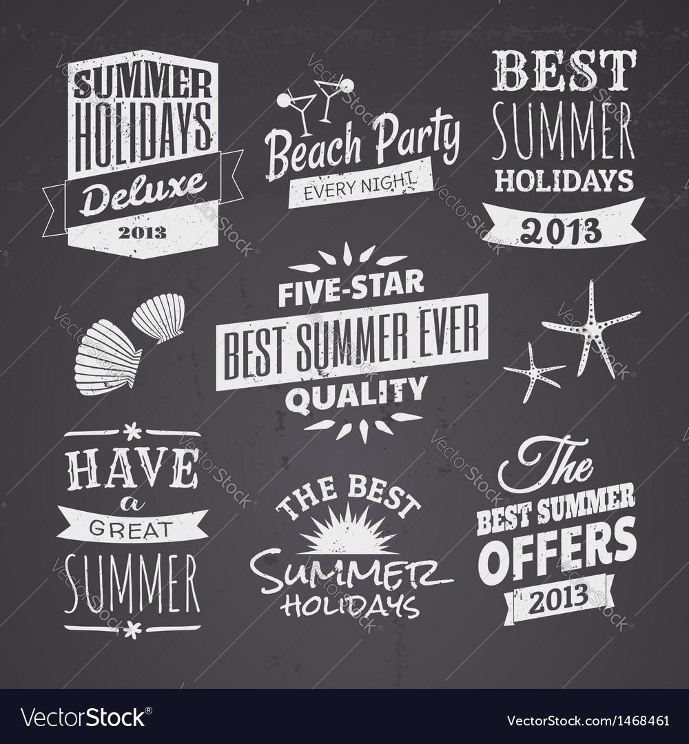 Chalkboard style typographic summer designs