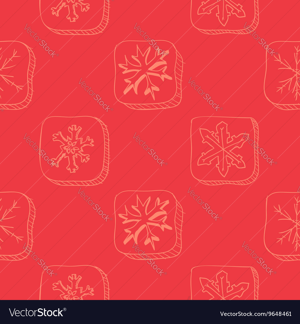 Christmas pattern with snowflake sketch