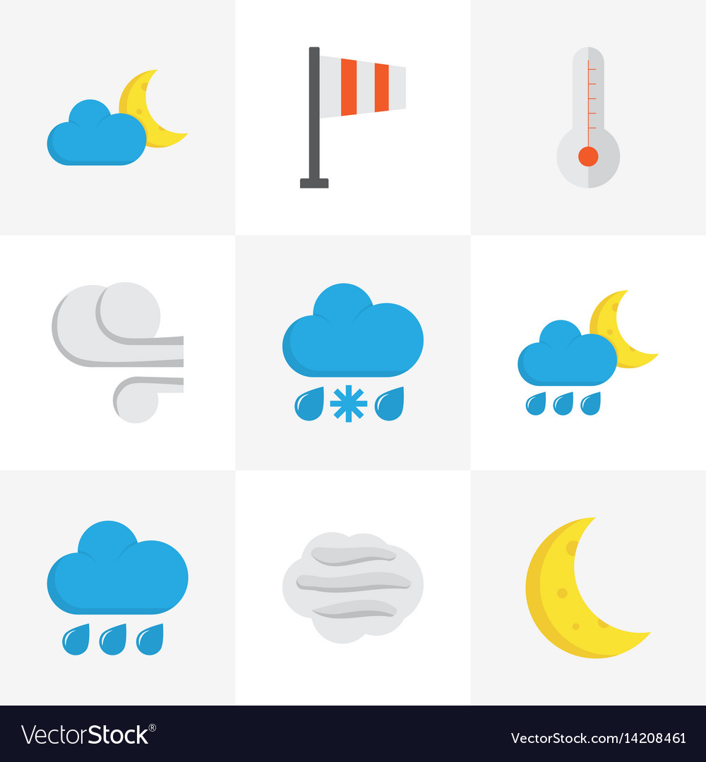 Climate flat icons set collection of banner rain vector image