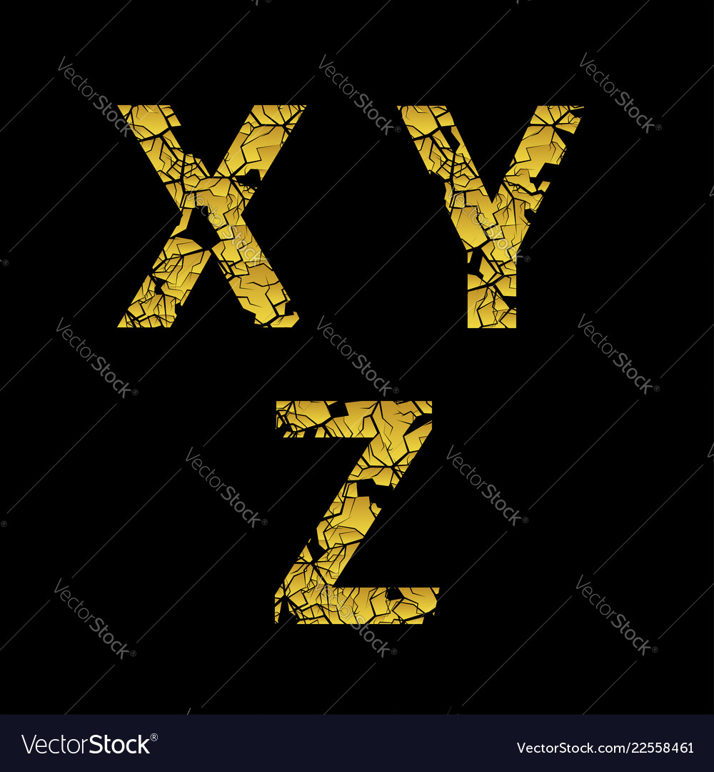 Golden broken letters