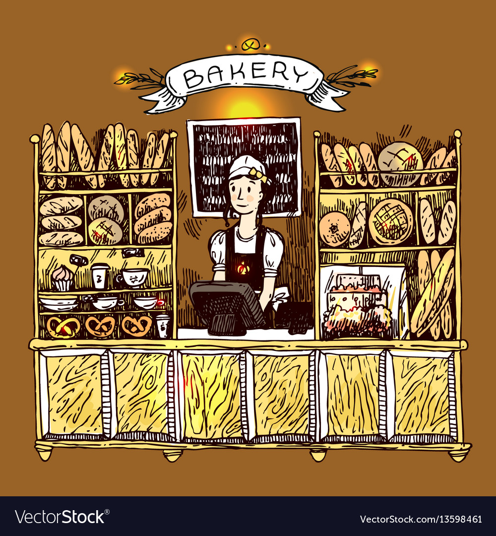 Hand drawn sketch interior of bakery shop