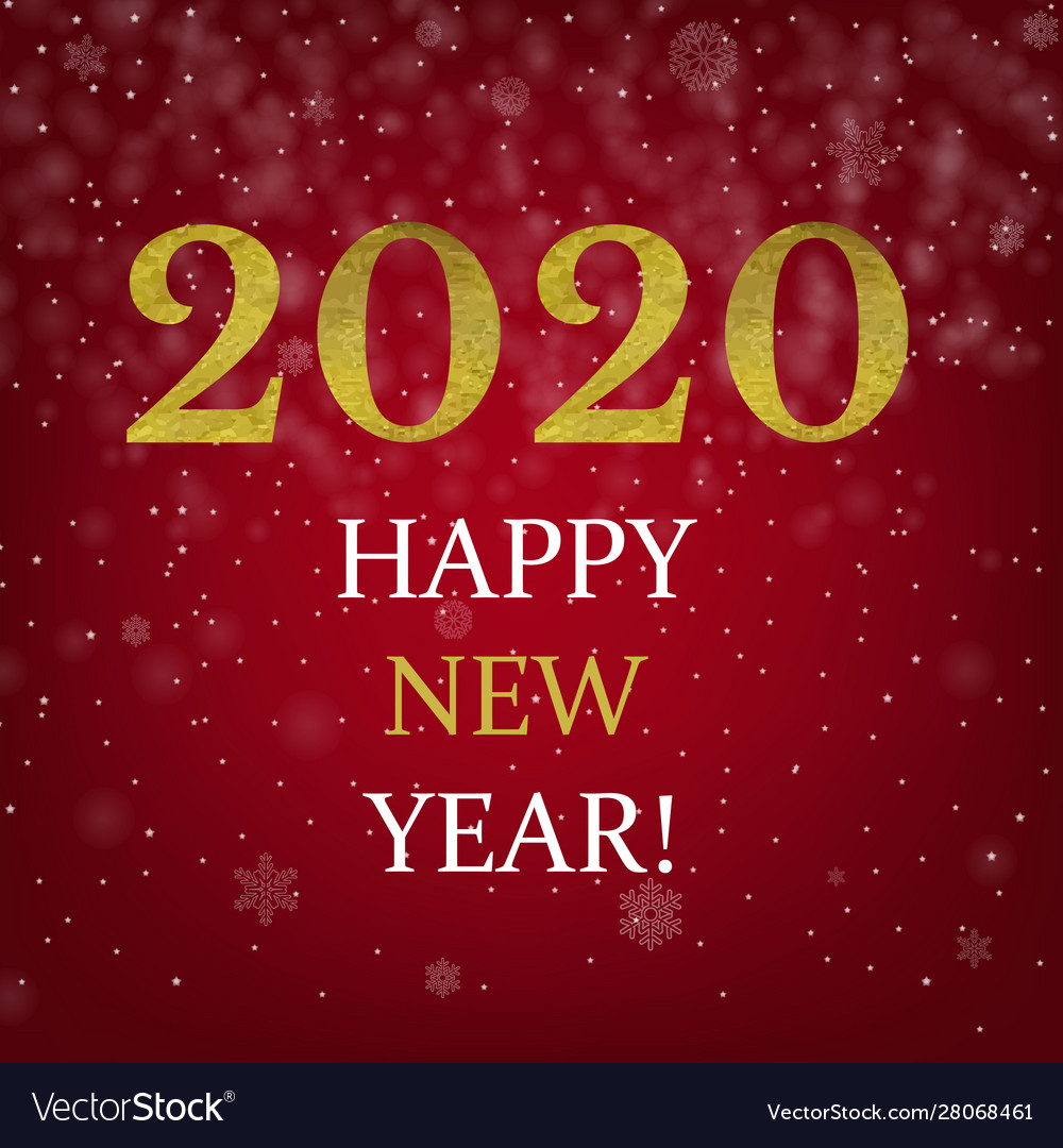 Happy new year poster with golden text