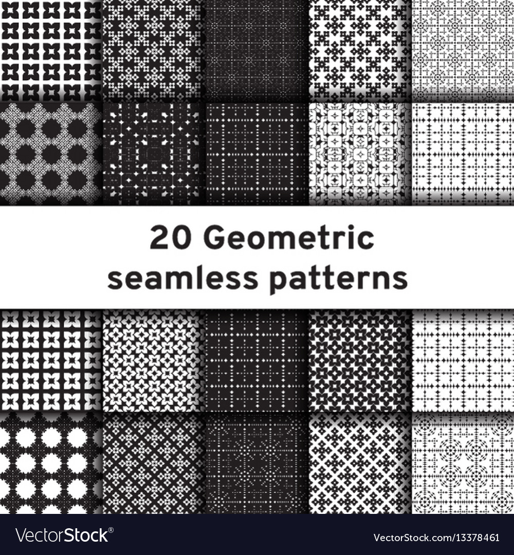 Set of 20 monochrome seamless patterns