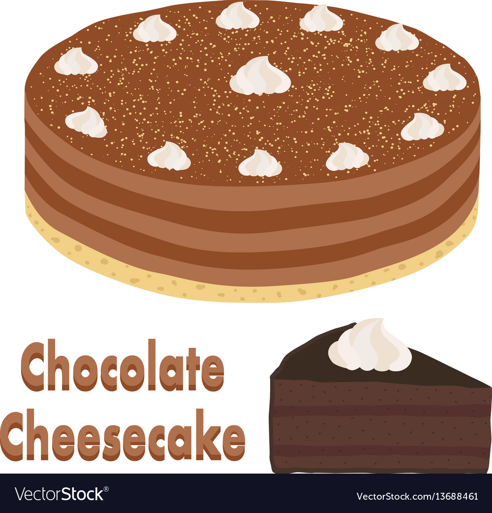 Set of whole chocolate pie and slice of cheesecake