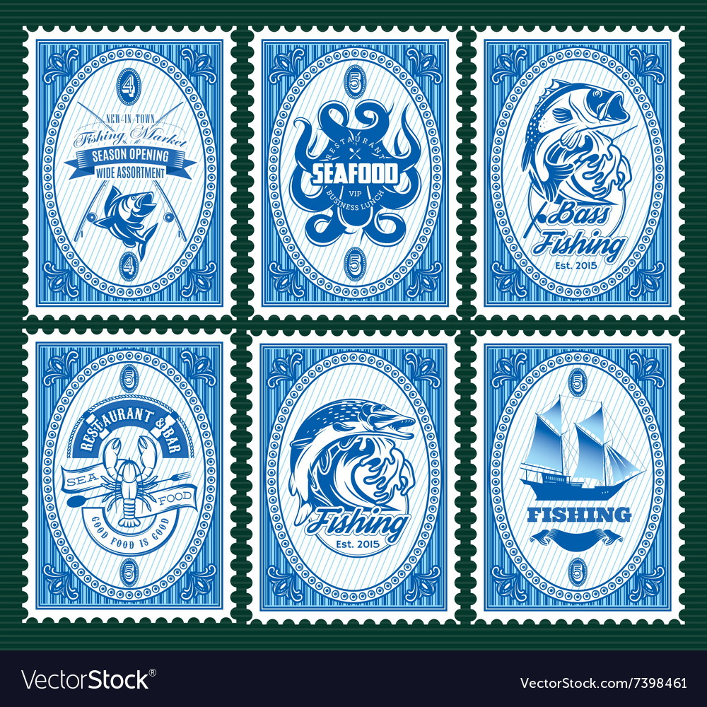 Set template of stamps with elements fishing