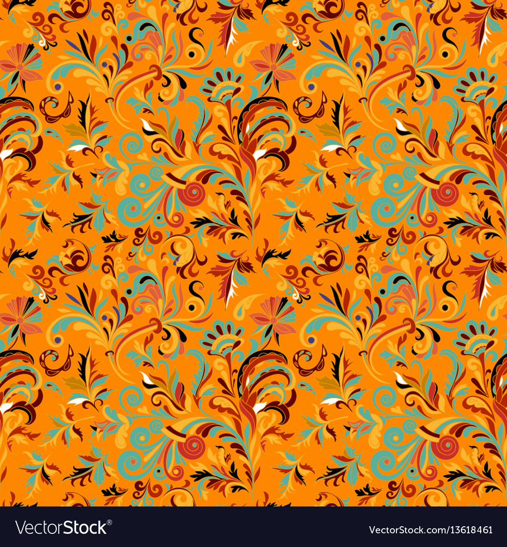Vintage baroque seamless pattern with swirls and