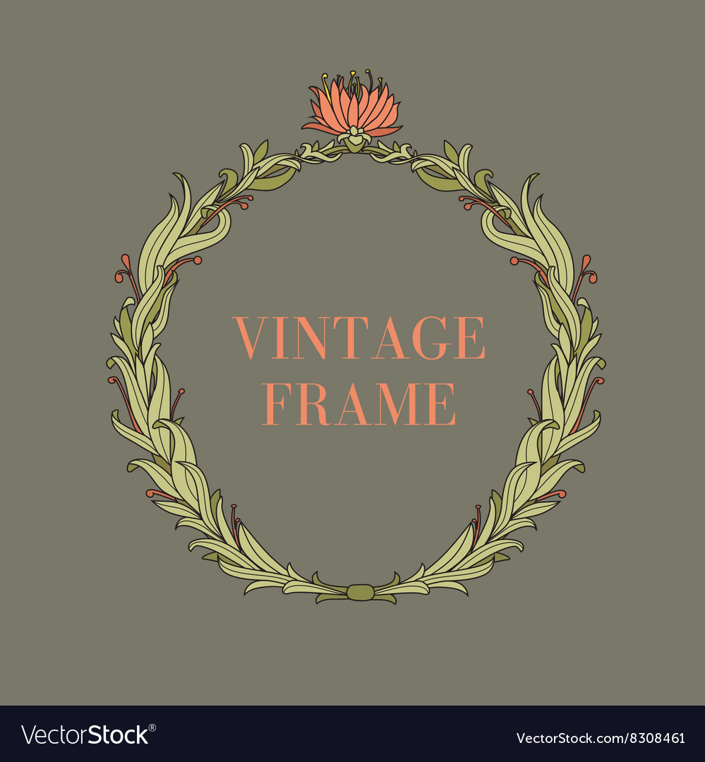 Vintage circle frame with flowers and plants