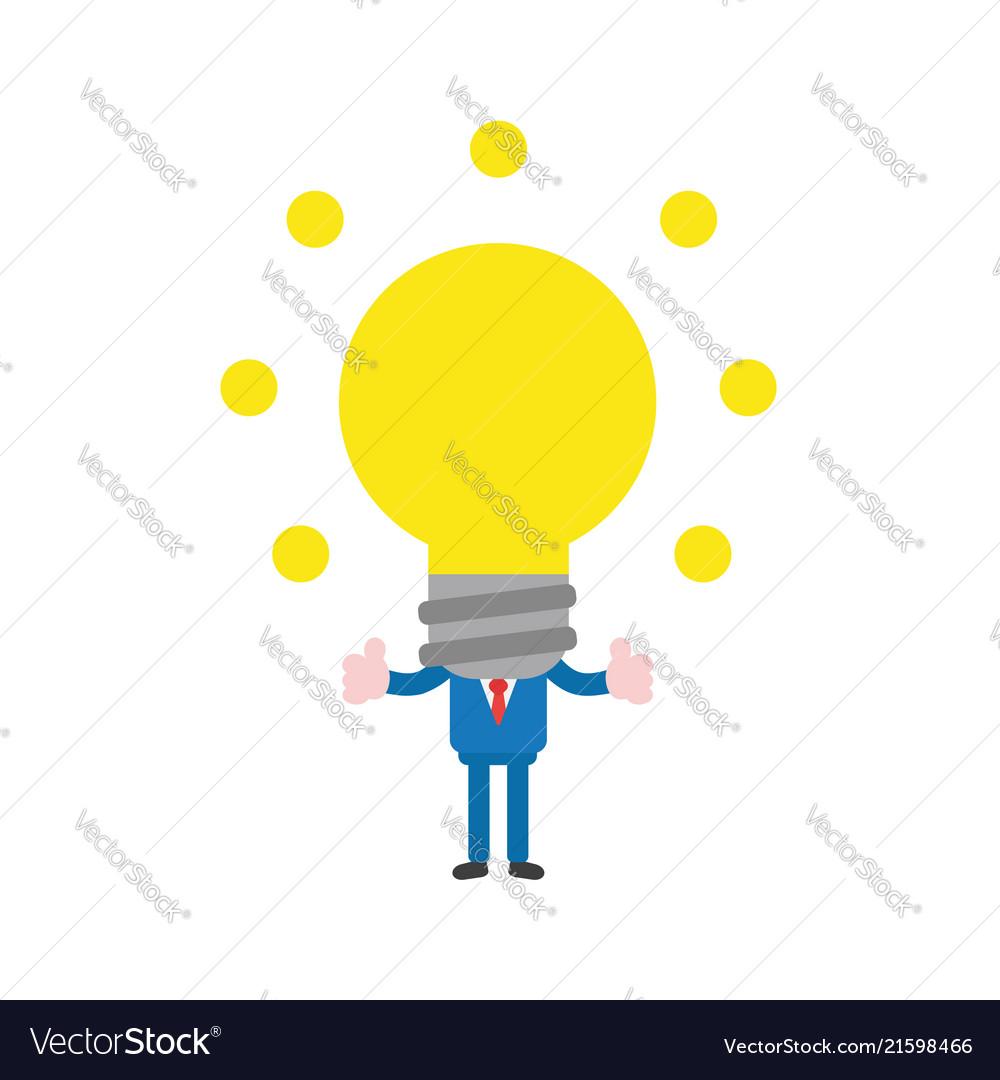 Businessman with glowing light bulb head