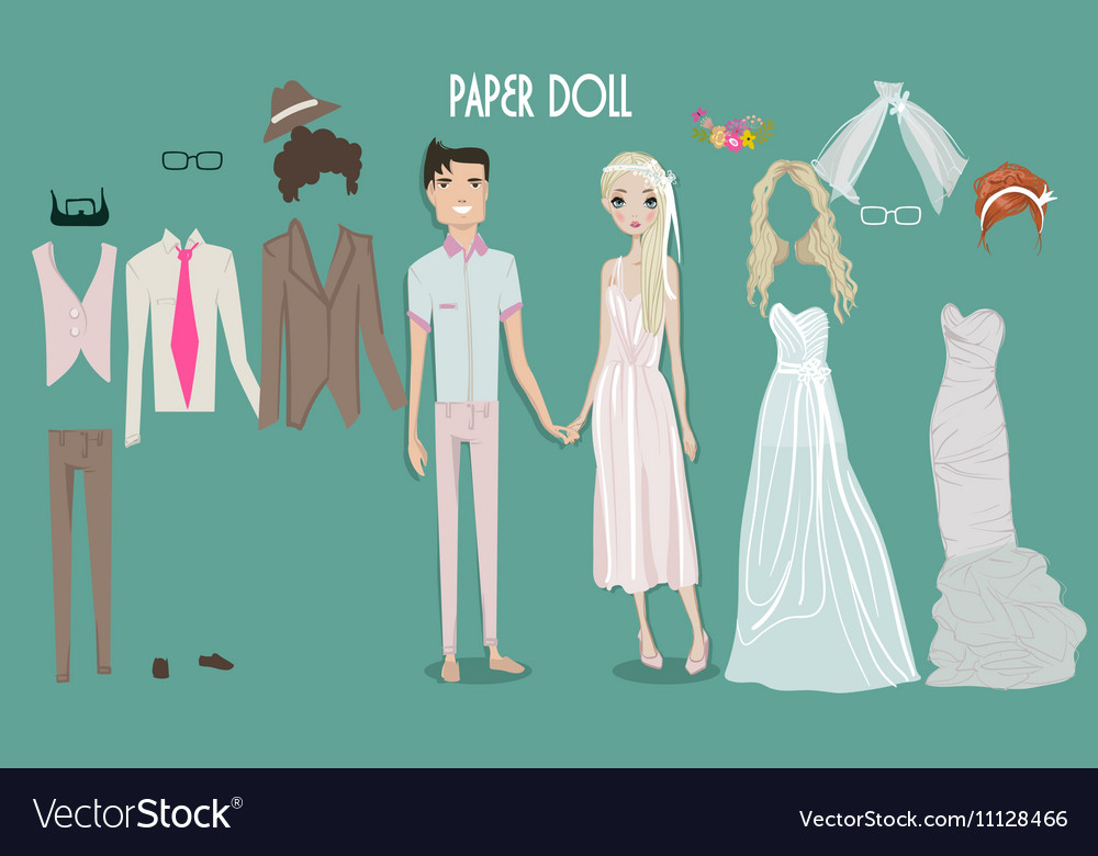 Cartoon girl doll with clothes for changes vector image