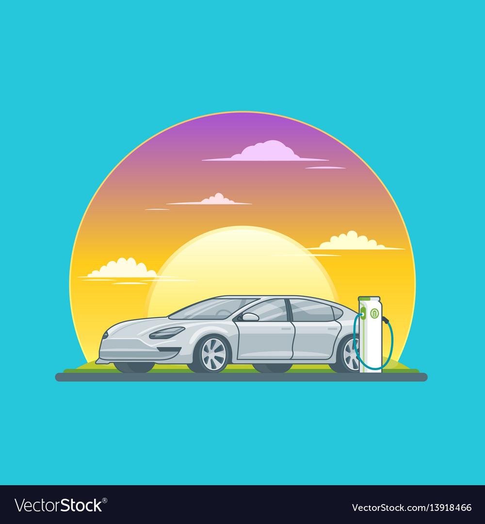 Charging electric sedan car concept