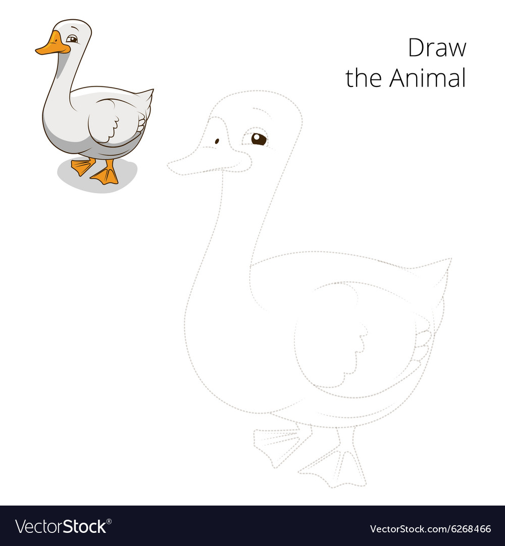 Draw the animal goose educational game vector image