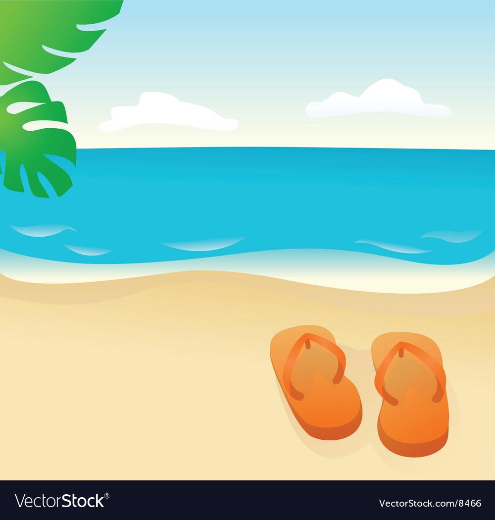 0fe8360e9 Flip flops on the sand Royalty Free Vector Image