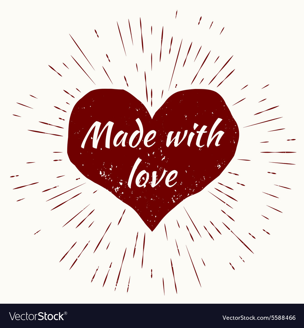 Heart and vintage sun burst frameMade with love vector image