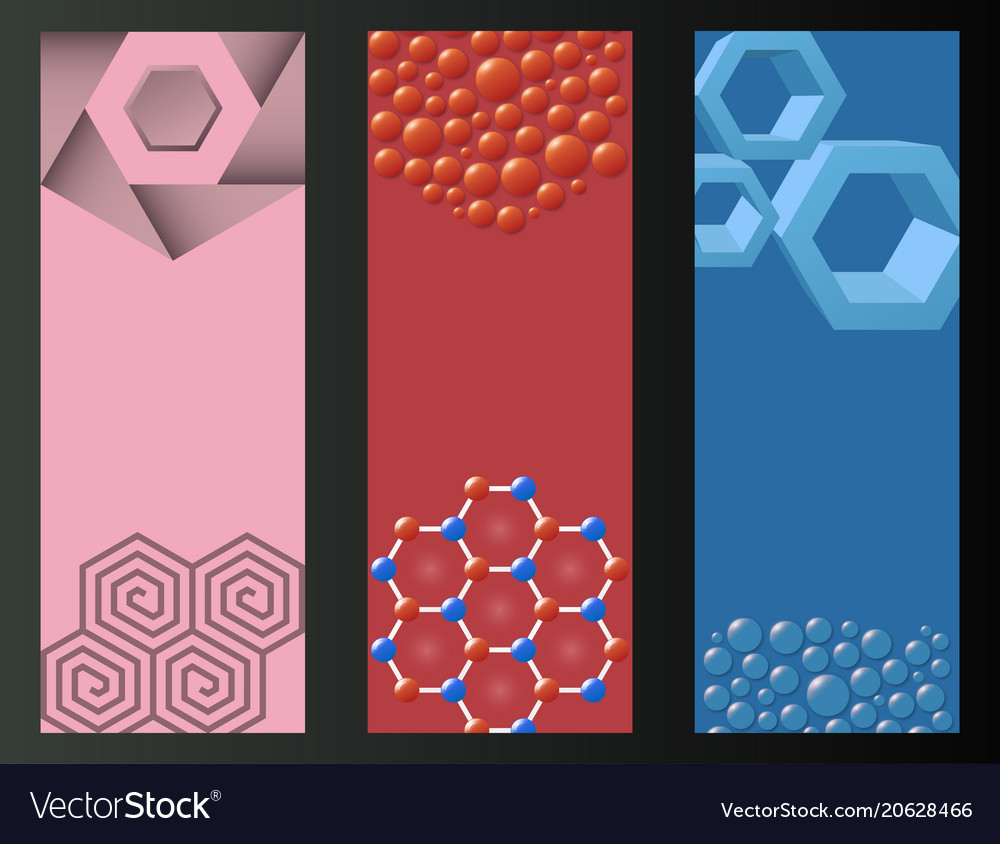 Hexagon design geometric flayer elements