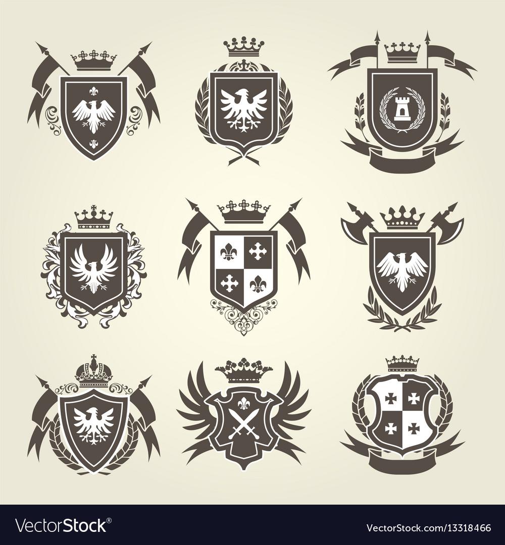 Medieval royal coat arms and heraldic emblems