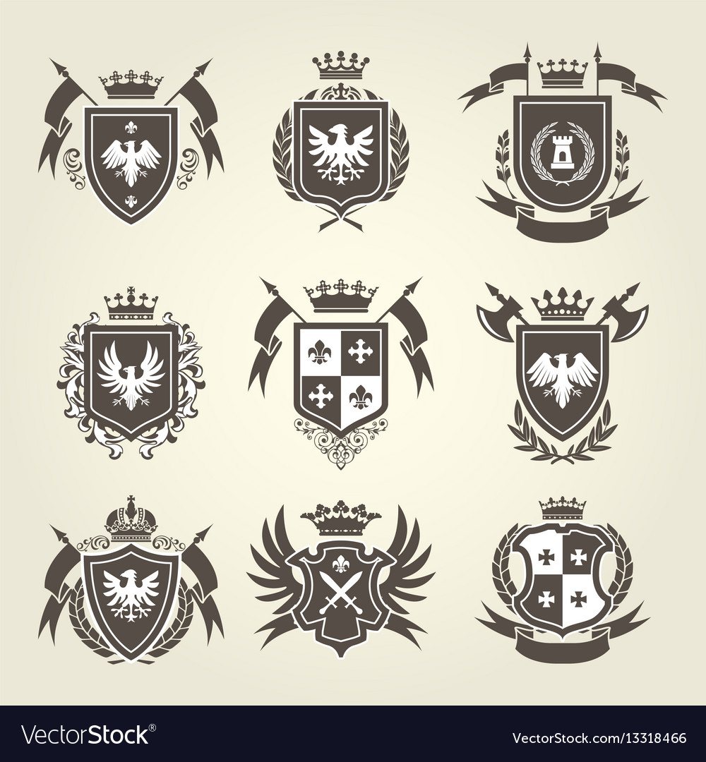 Medieval royal coat of arms and heraldic emblems