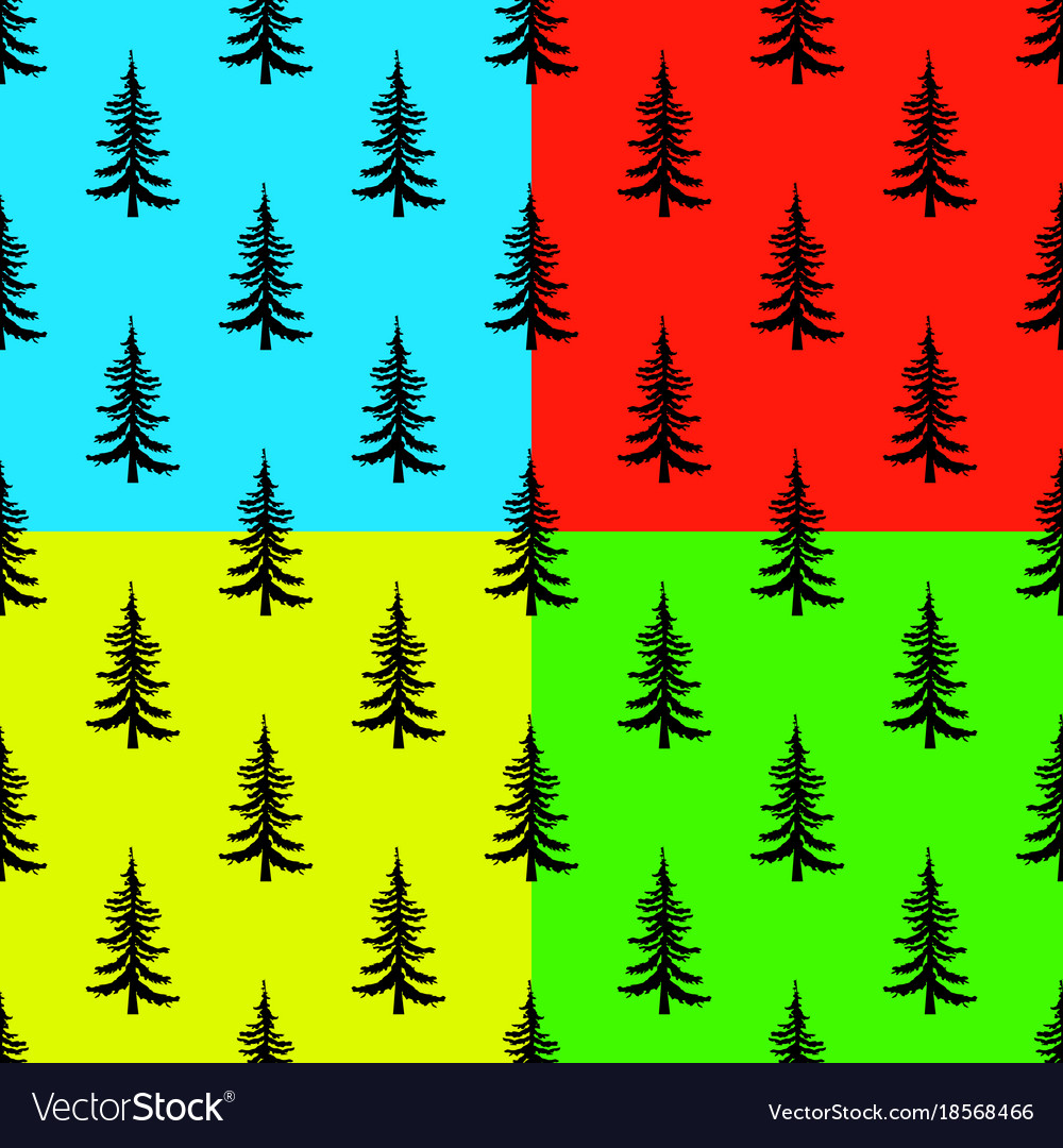 Pine tree seamless pattern on colors backgrounds