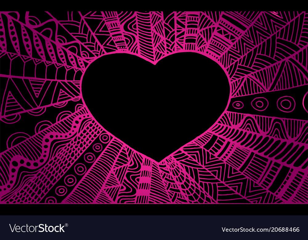 Romantic ornamental frame heart vintage style vector image