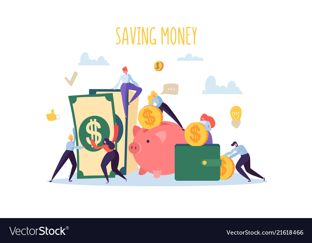 Saving money finance concept flat people