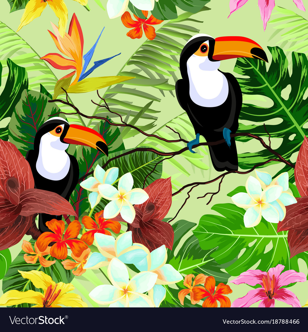 Seamless pattern with tropical flowers and birds