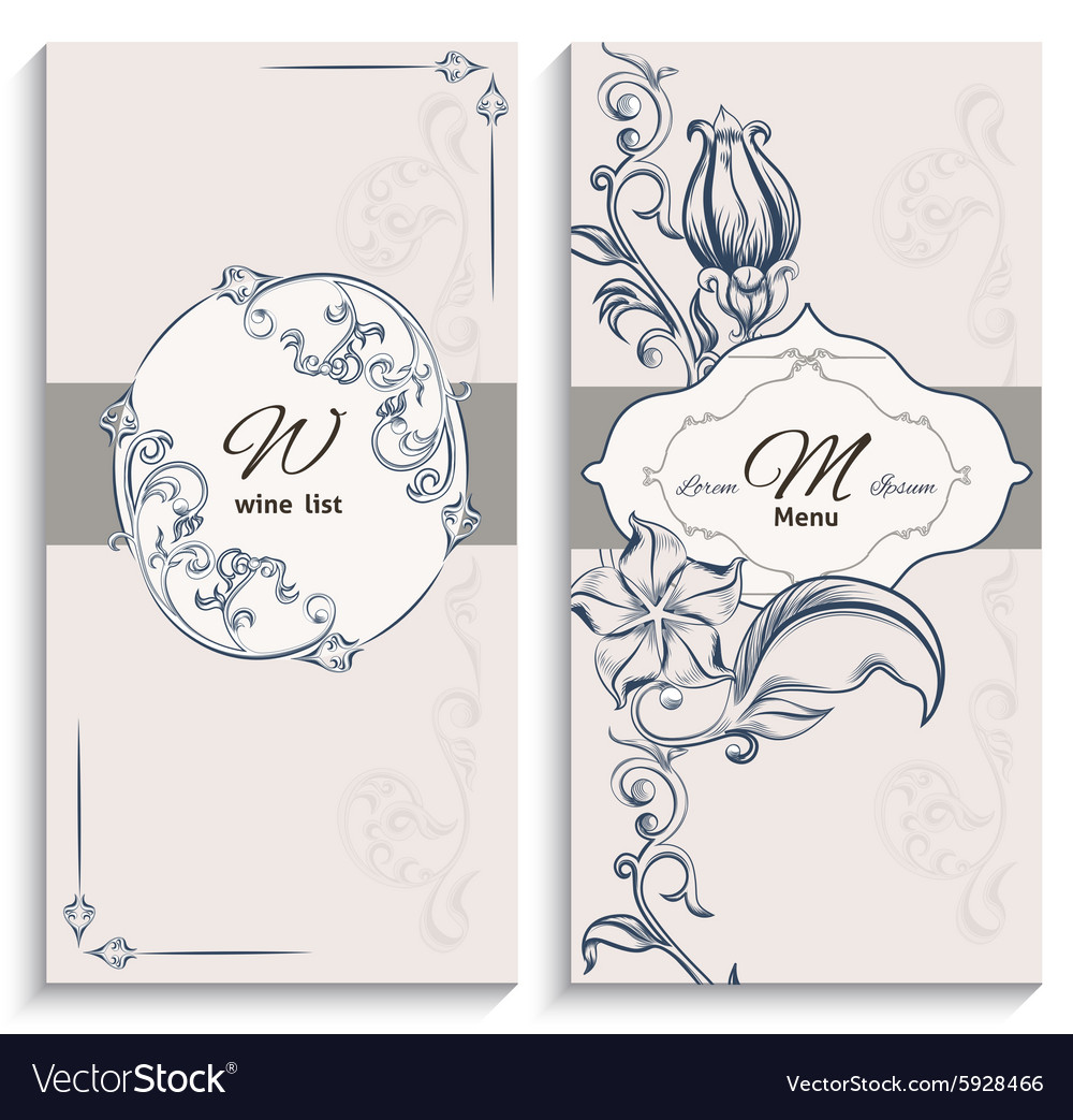 Set floral ornament wine list and menu vector image