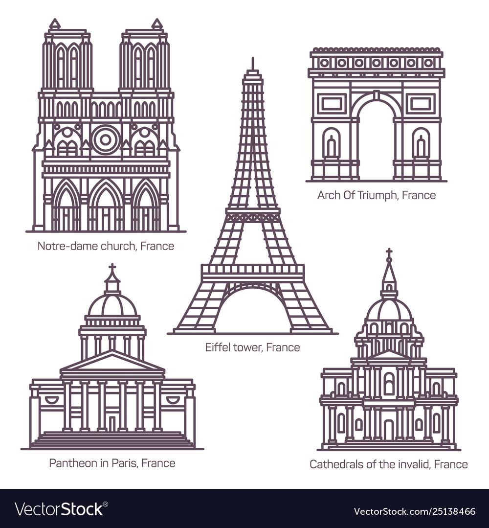 Set line isolated french sightseeing landmarks