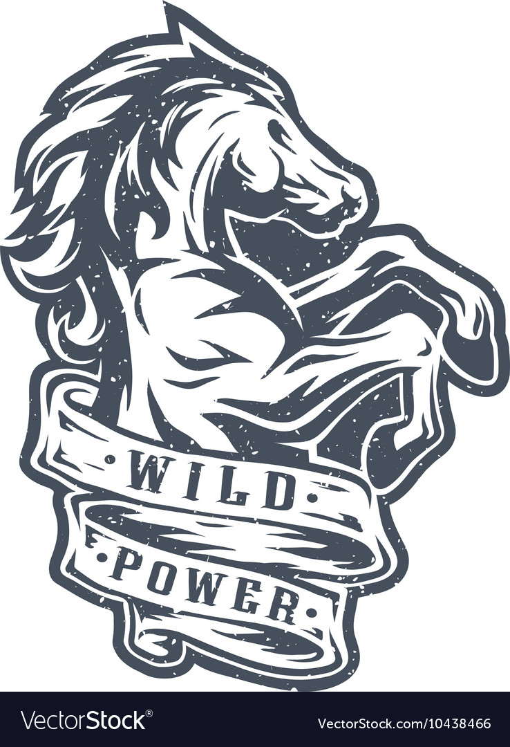 Wild Horse And Ribbon For Text Royalty Free Vector Image