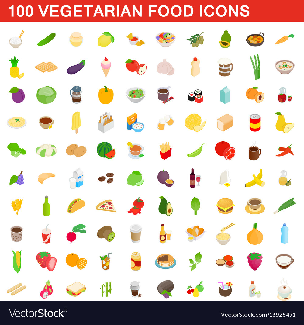100 vegetarian food icons set isometric 3d style