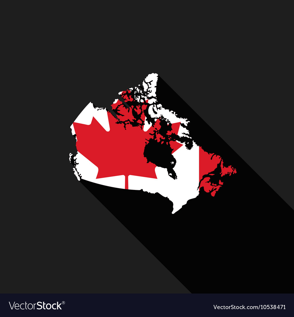 Canada flag map flat design