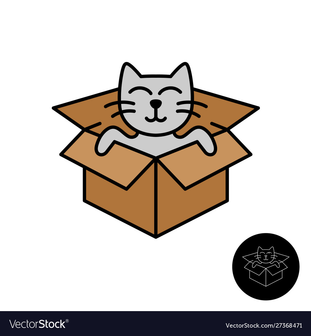 Cat from box logo cute cartoon cat come out