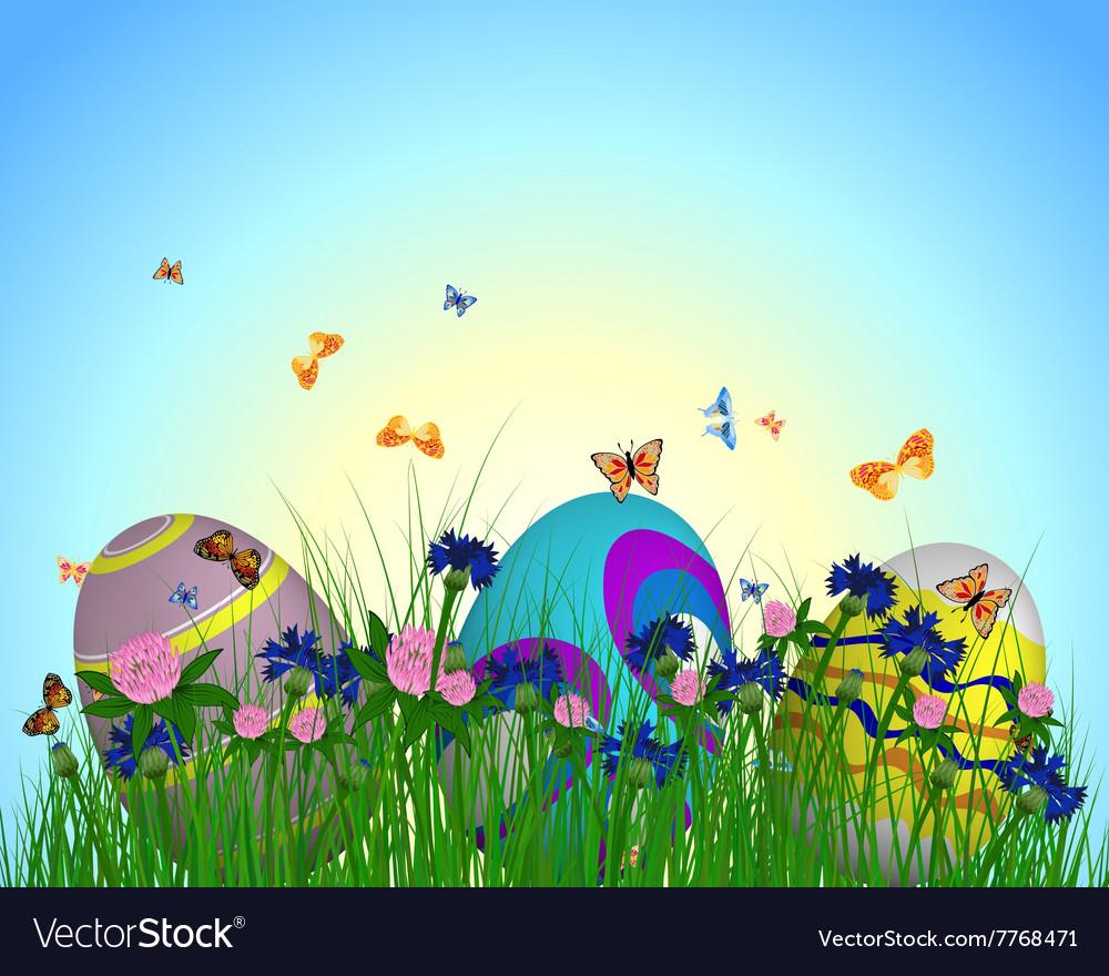 Easter Eggs on Springtime Meadow