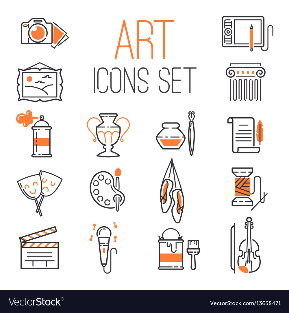 Outlined art icon set on white background modern
