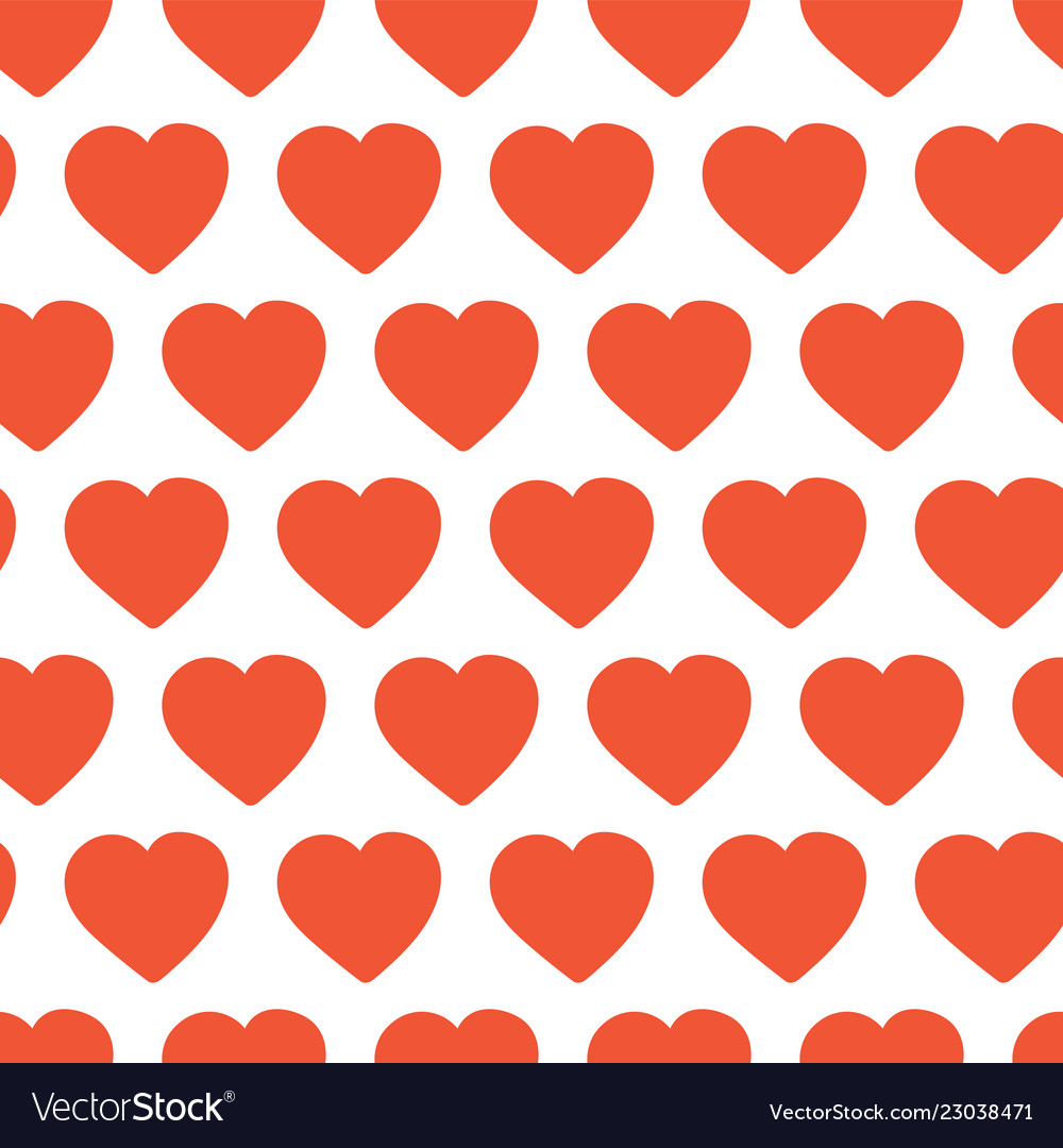 Red hand drawn hearts seamless background