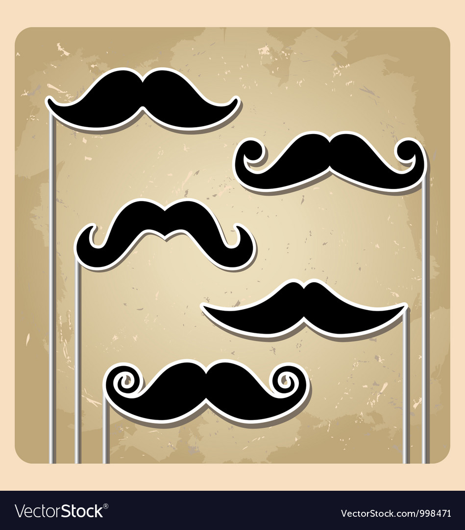 Set of hipster party mustache
